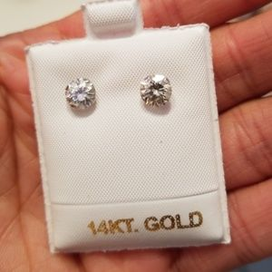 Jewelry - 14k white gold 2ct moissanite earrings